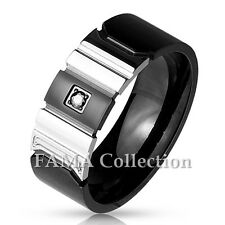 FAMA Stainless Steel Black IP & Shiny Steel with Centered Black CZ Size 9-12