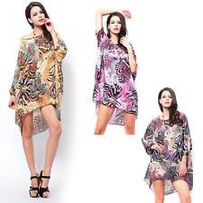 Womens Leopard Printed Batwing Sleeve Round Neck Beach Loose Chiffon Short Dress