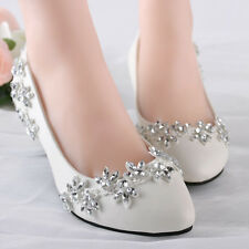 Lace Bling Wedding Shoes Prom Formal Bridal Pump High Heels Low Heels flat shoes