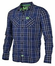 Superdry Men's The Washbasket Plaid Long Sleeve Shirt-Blue