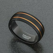 Mens Wedding Band 8mm Black Tungsten Ring Brushed Matte Double Groove Rose Gold