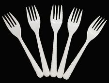 100 x Forks White Plastic CUTLERY CATERING BUFFET  PARTY DISPOSABLE (0502/10)