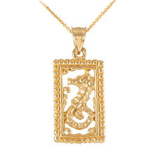 14k Solid Gold Rectangular Beaded Frame Seahorse Pendant Necklace
