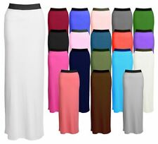 New Women Ladies Plain Stretch Elastic Jersey Long Gypsy Maxi Skirt Dress 8-26