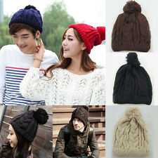 Unisex Hip-Hop Warm Winter Wool Knit Ski Beanie Skull Slouchy Cap Hat 6Colors