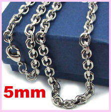 Mens 5mm 316L Stainless Steel  O Chain 4 Faceted Cut  Chain Necklace