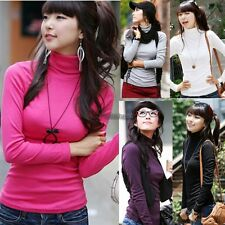 New Women Turtleneck Pullovers Long-sleeve Basic Bottoming Tee Shirt Tops WT88