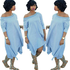 Fashion Sexy Women Off Shoulder Oversize New Party Long Dress Plus Size Casual