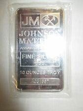 1 - 10 oz. Johnson Matthey .999 Fine Silver Bar