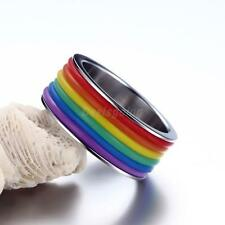 9mm Rainbow Lesbian Gay Pride Striped Promise Band Ring Stainless Steel Jewelry