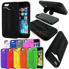 "Rugged Hybrid Skin Case Cover Kickstand + Card Holder for iPhone 6 4.7"" + Screen"