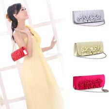 Women Floral Satin Clutch Wedding Bridal Evening Party Prom Shoulder Bag Purse