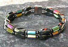 100% Magnetic Rainbow And Black Hematite Bracelet Anklet 2 Row AAA+ Strong gauss