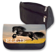 Personalised Horse Pencil Case/Makeup Bag.Personalise with any name for free