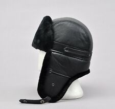 Black Aviator Bomber Winter Warm Ski Trooper Trapper Ear Flap Hat Cap 58/60CM
