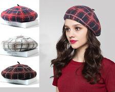 Cute Ladies Beret Beanie Cap Wool Grid Leisure Party Winter Hat