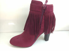 Womens Ankle Boots High Block Heels Side Strap Faux Suede Tassel Party Shoes