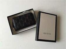 NEW Unwanted Gift - Black Genuine Gucci Signature Zip Around Card Case ID Holder