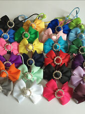 """New 2"""" Pair Handmade Grosgrain Ribbon Party/Easter Bow with Buckle Hair Bobbles"""