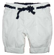 BNWT Baby Toddler Girls White Capri Shorts with Tie Belt - Sizes 000 00 0 1