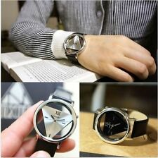 Fashion Leather Band Stainless Steel Sport Analog Quartz Women Men Wrist Watch