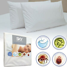 Zippered Pillow Protector Case Waterproof Breathable Polyester Cover Set of 2