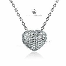 18k white yellow gold gf made with SWAROVSKI crystal heart pendant necklace