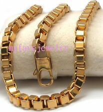 24K Tone Long Lasting IP  Gold 7mm Box Rolo 316L Stainless Steel Chain Bracelet