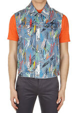 DIOR Men Blue Sleeveless Abstract Printed Denim Jacket Made in Italy New