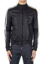 DSQUARED2 Dsquared² Men Black Leather Zippered Bomber Jacket Made in Italy