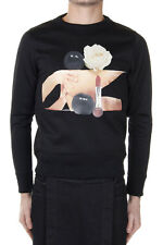 ACNE STUDIOS Men Black Cotton Mixed Printed Sweatshirt New with Tag