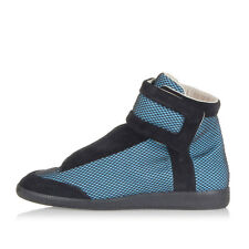 MARTIN MARGIELA MM22 Men Black and Blue Mesh Inserts High Sneakers Italy Made