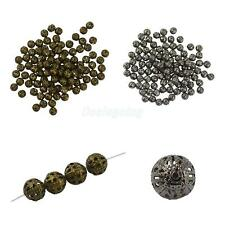 100/50pcs Hollow Filigree Round Metal Charms Beads Jewelry Findings DIY 10/8/6mm