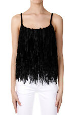 DRIES VAN NOTEN Women Black NEPALESE Top with Fringes New with Tag