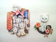 3D ~ U Pick ~ Kittens Basket Birthday Playing Scrapbook Embellishment #1672
