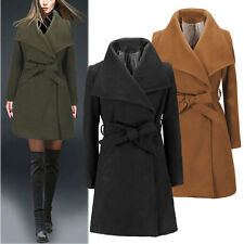 WOMENS Large lapel CASHMERE LONG winter JACKET COAT TRENCH OUTWEAR parka