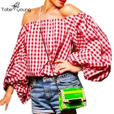 Sexy Off Shoulder VTG Plaid Puff Sleeve Loose Beach Summer Top Blouse Tee Shirt