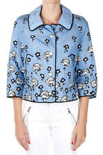 PRADA Women Blue Printed Cropped Nylon Down Jacket Coat New $949 Authentic NWT