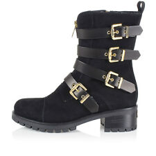 CHIARA FERRAGNI Women Black suede Ankle Boot with Buckles New made in italy