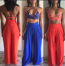 Womens 2 Pieces Clubwear Summer Playsuit Bodycon Party Jumpsuit&Romper Trousers