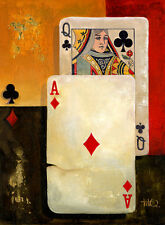 Poster Vintage QUEEN ACE POKER CARDS  print on paper or Canvas Giclee
