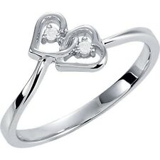 Genuine .02 ctw Diamonds Double Open Hearts Style Ring 14K. Yellow or White Gold