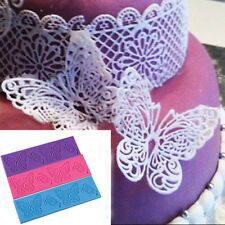 Flower Butterfly Silicone Lace Mat Fondant Mold Sugarcraft Cake Decorating Mould