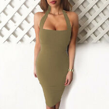 Sexy Women's Backless Halter Bodycon Pencil Dress Clubwear Cocktail Bandage Slim