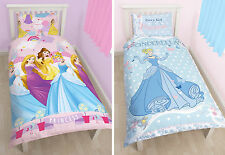 DISNEY PRINCESS KIDS SINGLE DUVET QUILT COVER BEDDING SET CINDERELLA RAPUNZEL