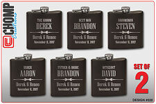 Groomsman Gifts Set of 2 Personalized Engraved Flask, Wedding Bridesmaid Party