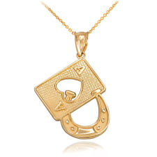 14k Yellow Gold Lucky Poker Ace Card Horseshoe Casino Gambling Pendant Necklace