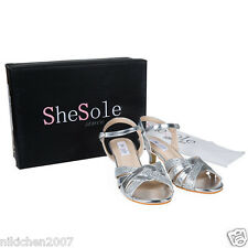 SheSole womens silver sequins mid heels kitten strappy ankle strap evening shoes
