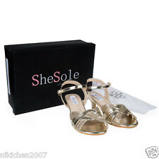SheSole womens gold mother wedding bridal heels evening dance party shoes size