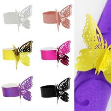 50pcs Napkin Ring Serviette Holder Butterfly Paper Wedding Party Favor 6 Colors